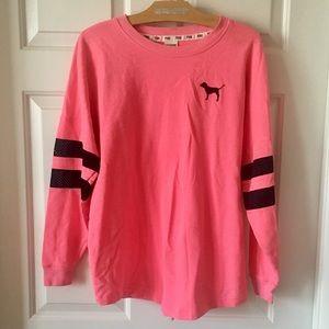 PINK Victoria's Secret Neon Palm Tree Crew Sweater